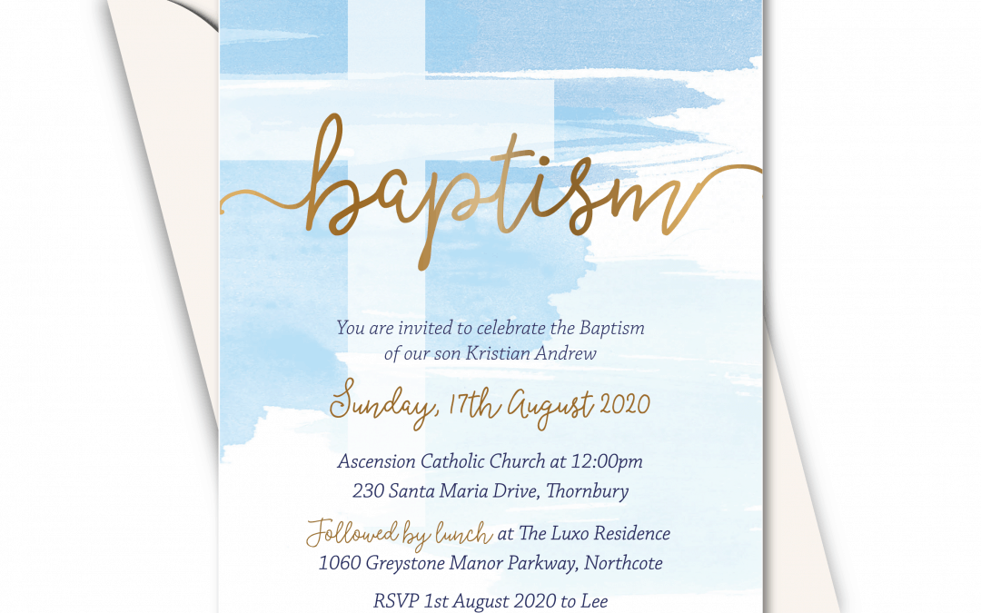 Baby Blue Watercolour and Gold –  Birthday Party and Christening invitation card online