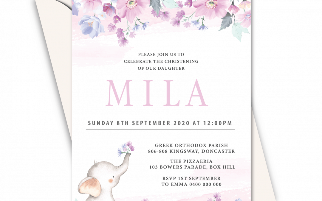 Baby Elephant – Girls Birthday Party Online Invitation Card Template
