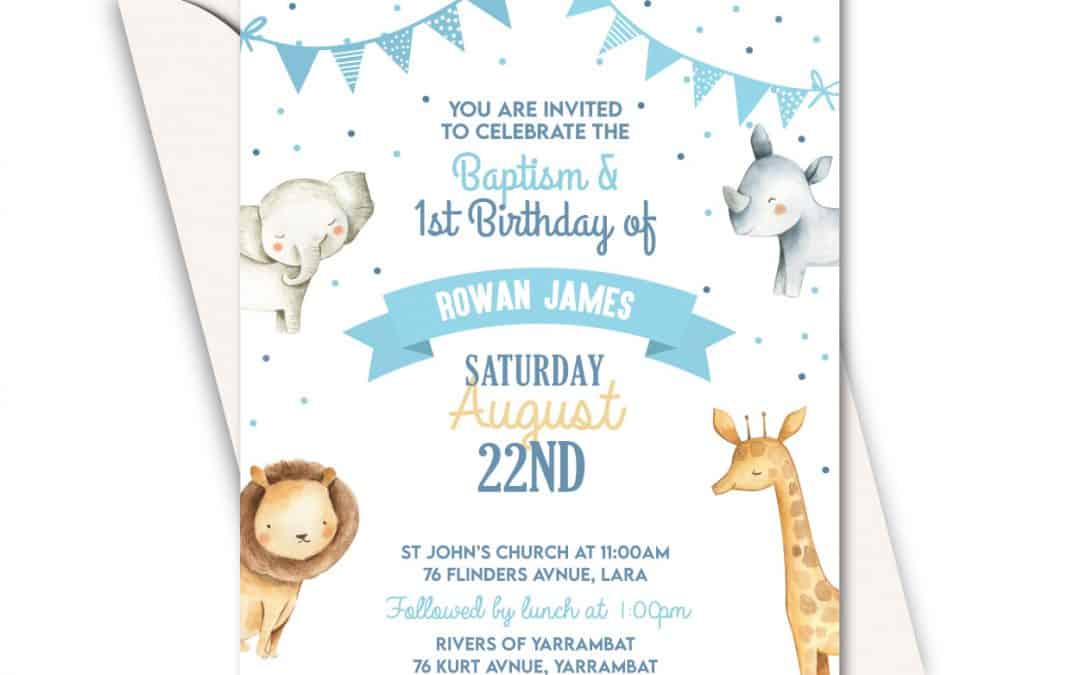 Cute Jungle Animals with Blue Polka Dots –  Boy Birthday Party and Christening Card – Online invitations