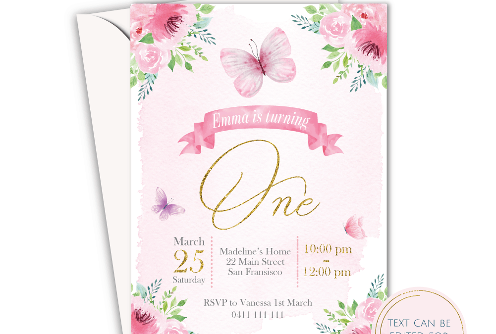 Pink Butterfly Floral Garden – Girls Birthday Party Online Invitation Card Template