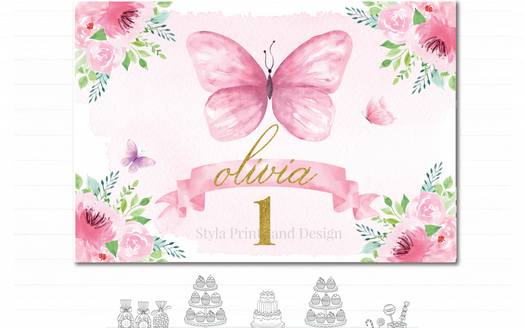 Pink Butterfly Floral Garden- Printable Party Backdrop